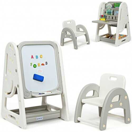 2 in 1 Kids Easel Desk Chair Set Book Rack Adjustable Art Painting Board-Gray