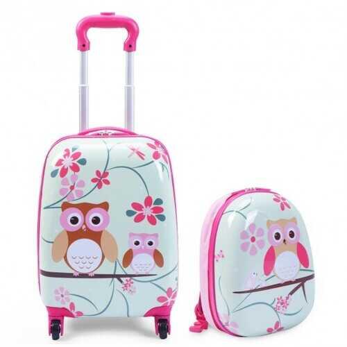 """2 pcs 12"""" 16"""" Green ABS Kids Suitcase Luggage Set"""