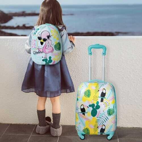 "2 pcs Kids Luggage Set 12"" Backpack & 16"" Rolling Suitcase Travel"