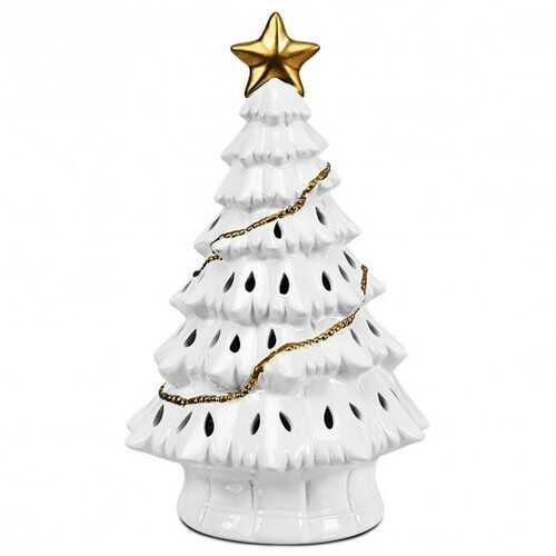 "11"" Pre-Lit Ceramic Hollow Christmas Tree with LED Lights"