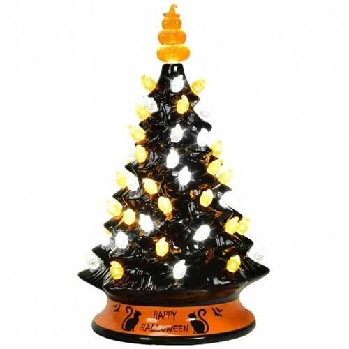 "15"" Pre-Lit Ceramic Hand-Painted Tabletop Halloween Tree"