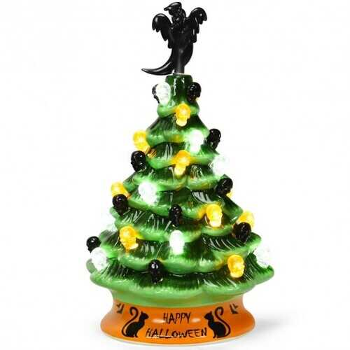 11.5'' Pre-Lit Ceramic Hand-Painted Tabletop Halloween Tree