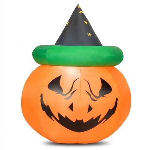 4 Ft Halloween Inflatable LED Pumpkin with Witch Hat