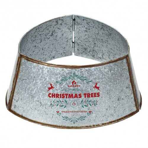 Galvanized Metal ChristmasTree Collar Skirt Ring Cover Decor-White