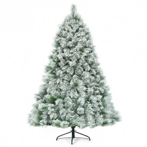 7 ft Artificial Christmas Tree with Snowy Pine Needles