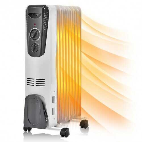 1500 W Electric Portable Oil Filled Space Heater with Adjustable Thermostat