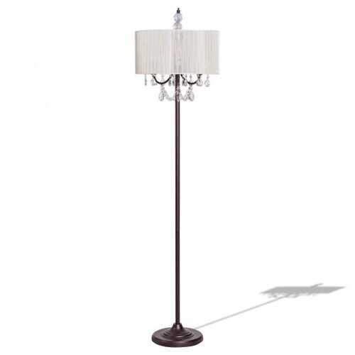 Elegant Sheer Shade Floor Lamp w/ Hanging Crystal LED Bulbs