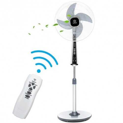 "15"" 4 Blades 3-Speed Height Adjustable Remote Control Pedestal Fan"