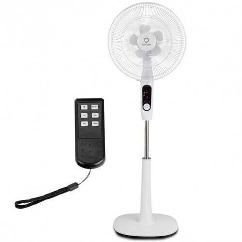 "Fantask 16"" 2 Mode 2 Blades Remote Control Oscillating Pedestal Fan-White"