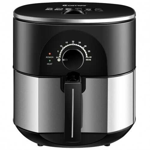 3.5QT 1300W Electric Stainless Steel Air Fryer Oven Oilless Cooker