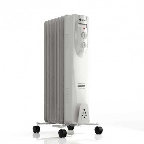 1500 W 7-Fin Portable Electric Oil Filled Space Heater with Overheat Protection