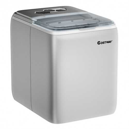 44 lbs Portable Countertop Ice Maker Machine with Scoop-Silver