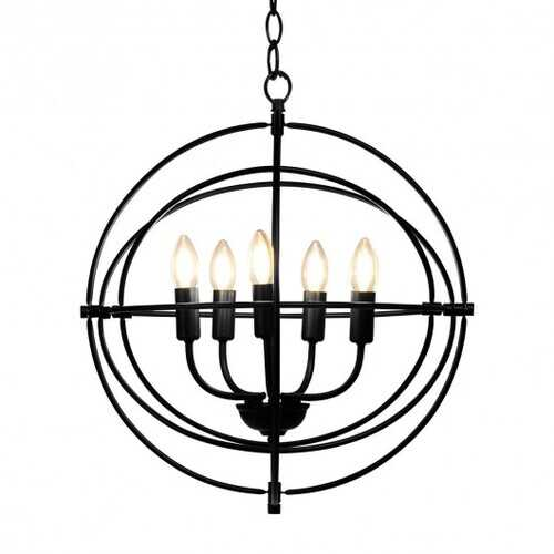 "20"" 5 Lights Metal Chandelier with Pivoting Interlocking Rings"