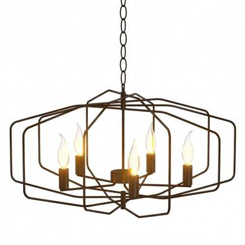"28"" Folding Rotatable Chandelier with 5 Lights Metal Ceiling Lamp for Living Room"