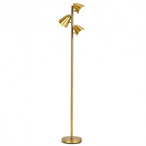 """64"""" 3-Light LED Floor Lamp Reading Light for Living Room Bedroom - Golden"""