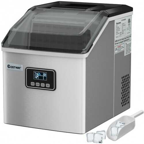 48 Lbs Stainless Self-Clean Ice Maker with LCD Display