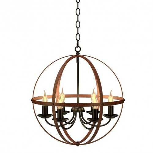 6-Light Orb Chandelier Rustic Vintage Ceiling Lamp