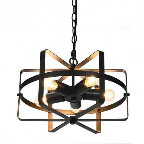 5-Light Metal Drum Shape Industrial Pendant Light