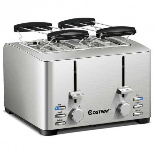 Extra-Wide Slot Stainless Steel 4 Slice Toaster
