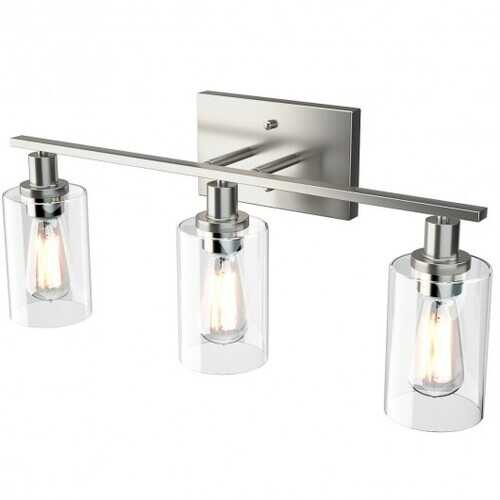 3-Light Modern Bathroom Wall Sconce with Clear Glass Shade-Silver