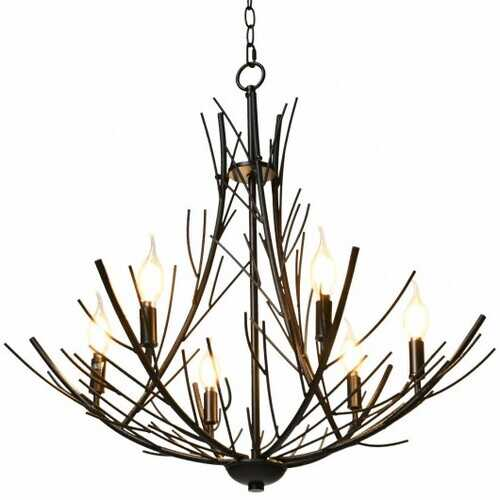 6 Light Vintage Crystal Branch Chandeliers Black Ceiling Pendant Light