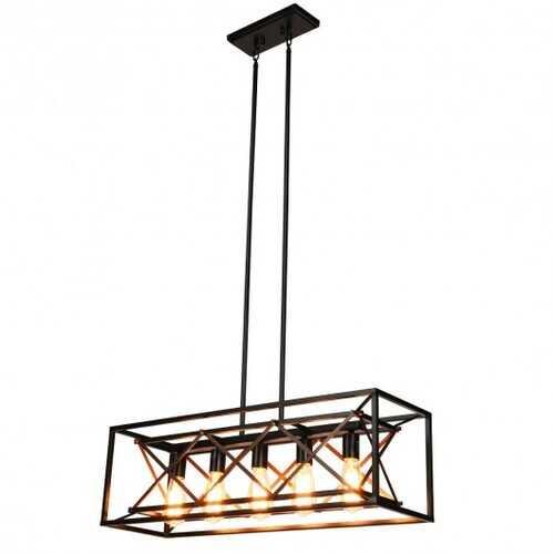 5-Light Kitchen Island Pendant Light Wood Metal Chandelier
