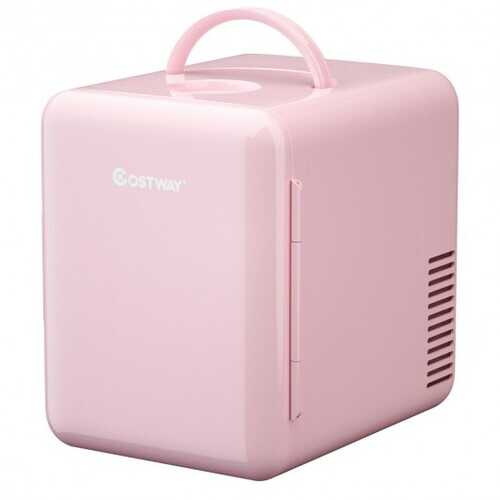 4 Liter Portable Mini Cooler Warmer Fridge with Ergonomic Handle AC/DC Powered-Pink