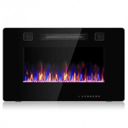 """30"""" Recessed Ultra Thin Electric Fireplace Heater with Glass  Appearance"""