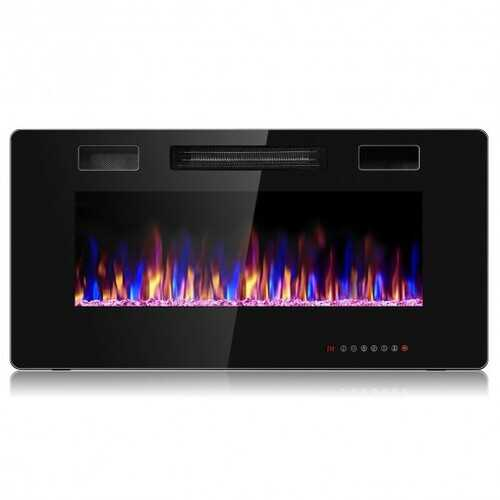 """36"""" Recessed Ultra Thin Wall Mounted Electric Fireplace with 12 Flame Colors"""
