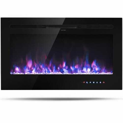 """36"""" Electric Wall Mounted Ultrathin Fireplace with Touch Screen and Timer"""
