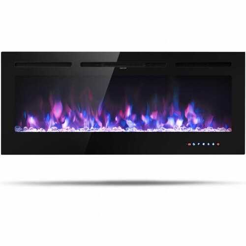50 inch Recessed Electric Insert Wall Mounted Fireplace with Adjustable Brightness