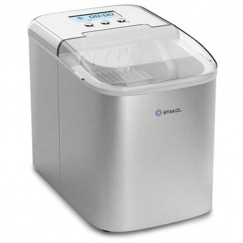 26 lbs Countertop LCD Display Ice Maker with Ice Scoop
