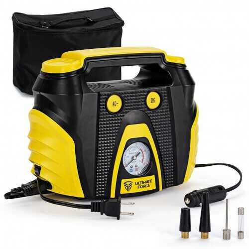 Portable Air Compressor Tire Inflator AC/DC Electric Pump with 3 Nozzle Adaptors