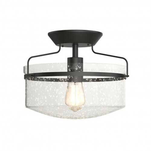 Semi Flush Mount Ceiling Light Fixture Industrial Seeded Glass Pendant Lamp