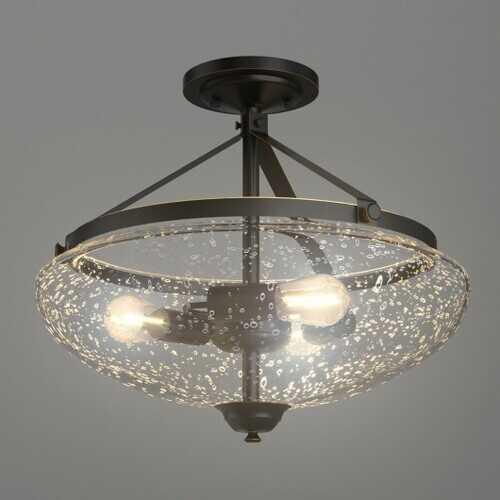 3-Light Semi Flush Industrial Seeded Glass Mount Ceiling Lamp