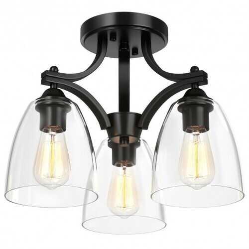 3-Light Semi Flush Mount Ceiling Light with Vintage Clear Glass Pendant
