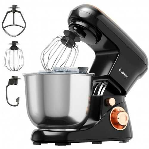 5.3 Qt Stand Kitchen Food Mixer 6 Speed with Dough Hook Beater-Black