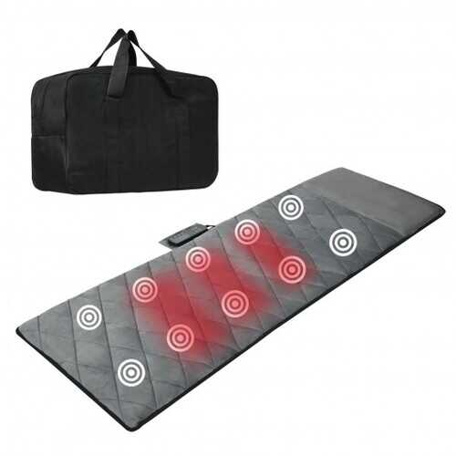 Foldable Mat Full Body Massager with 10 Vibration Motors and 3 Heating Pads