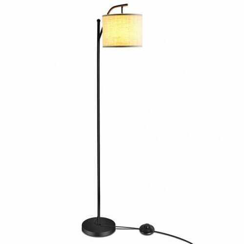 Standing Arc Modern Floor Lamp W/ Fabric Hanging Lamp