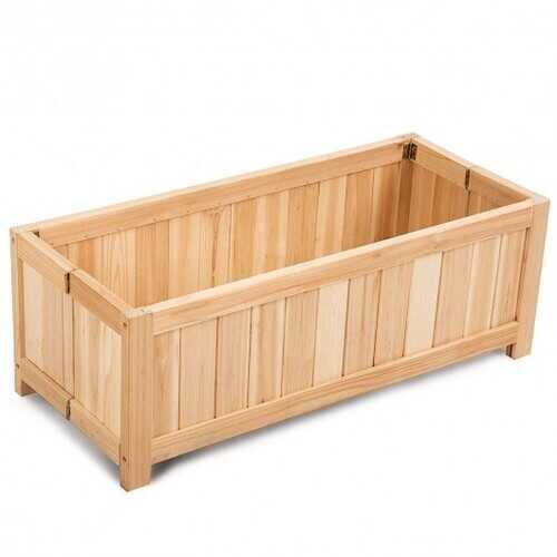 Patio Lawn Folding Garden Rectangle Wood Portable Planter Box