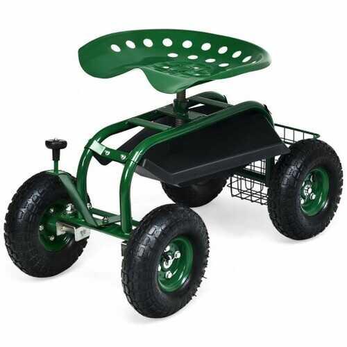 4-Wheel Rolling Garden Cart Work Seat