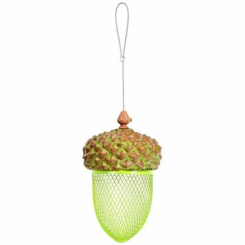 Metal Acorn Wild Bird Feeder Outdoor Hanging Food Dispenser for Garden Yard-Brown