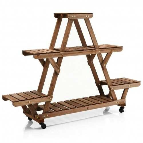 Wooden Plant Stand with Wheels Pots Holder Display Shelf