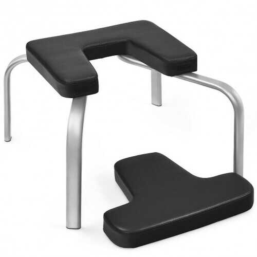 Yoga Iron Headstand Bench w/ PVC Pads for Family Gym-Black
