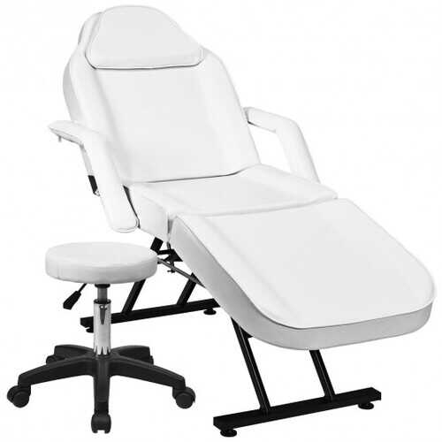 Massage Tattoo Facial Beauty Spa Salon Chair with Stool-White
