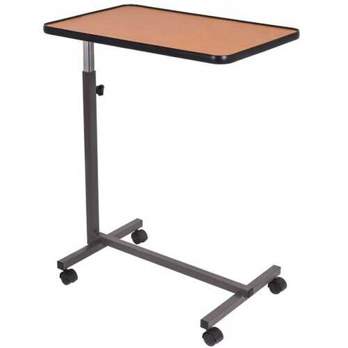 Gray Overbed Rolling Table Food Tray