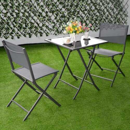3 Pcs Bistro Set Garden Backyard Table Chairs Furniture Set