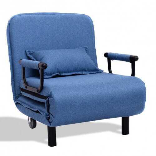 Convertible Folding Leisure Recliner Sofa Bed-Blue