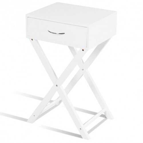 Campaign Style Modern X-Shape Accent Side End Table-White