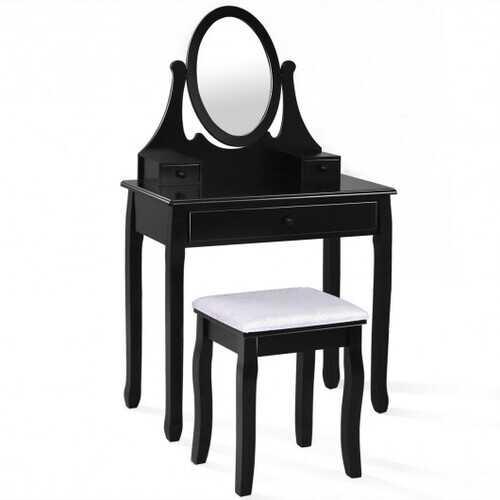 Bathroom Vanity Wooden Makeup Dressing Table Stool Set -Black